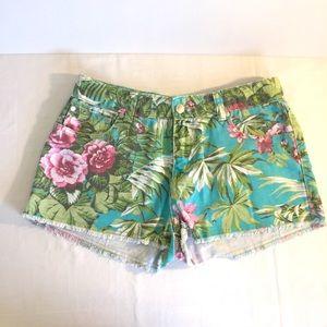 PINK SUGAR girls sz 16 tropical floral denim short